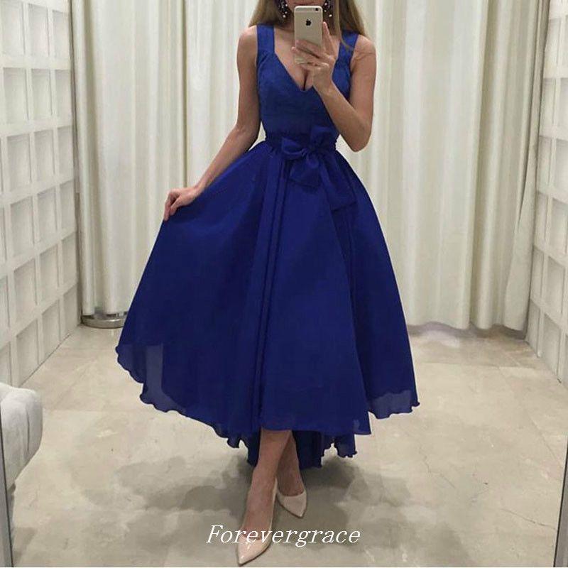 Royal Blue High Low Evening Dress Deep V Neck Chiffon Arabic Girls Wear  Formal Party Gown Cheap Custom Made Plus Size Dress For Women Evening Maxi  ...