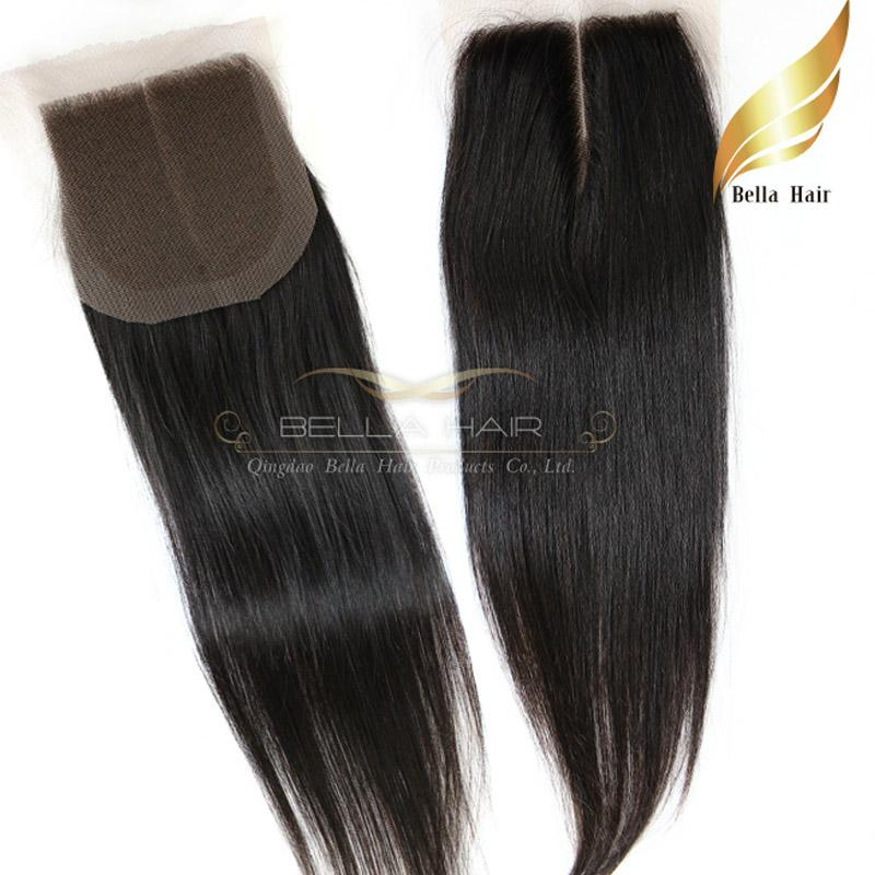 Straight Indian Virgin Remy Human Hair Extensions Lace Closure Weave Middle Part Unprocessed Natural Color Top Grade Bellahair