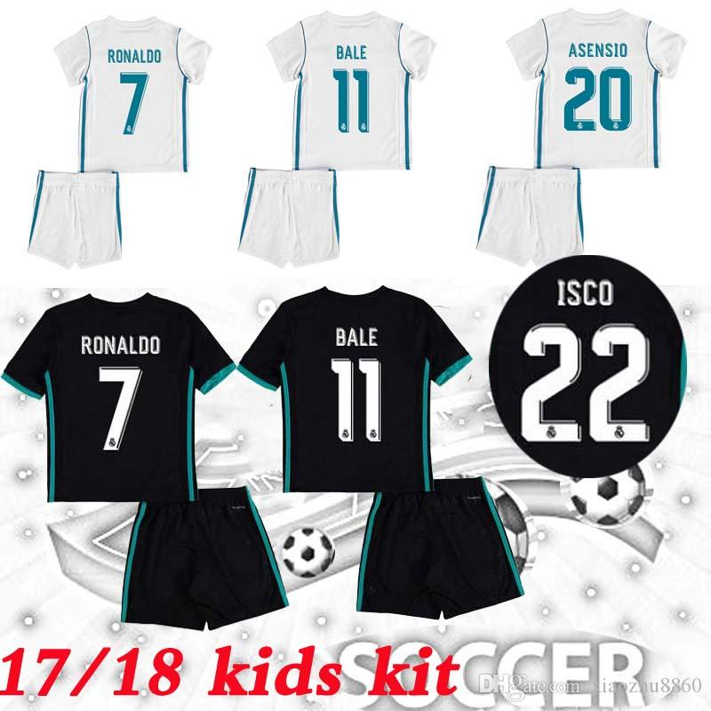 sports shoes 65b06 a1f18 2019 2017/2018 Kids Real Madrid Kits Soccer Jerseys New Font 17/18 RONALDO  Black ASENSIO BALE RAMOS ISCO MODRIC Football Shirt Thailand Quality From  ...