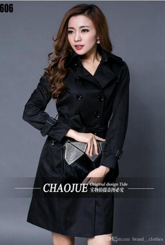 Donna primavera per il tempo libero moda edizione dell'edizione multa britannico elegante doppio petto giacca cappotto plus-size giacca a vento / S-4XL