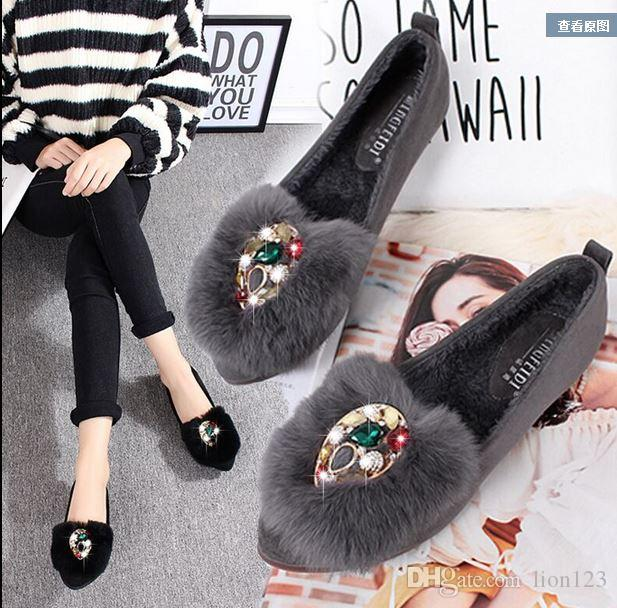Autunno e inverno vera pelle di coniglio in lana di lana scarpe a punta strass piatto scarpe singole più velluto Mocassini scarpe femminili