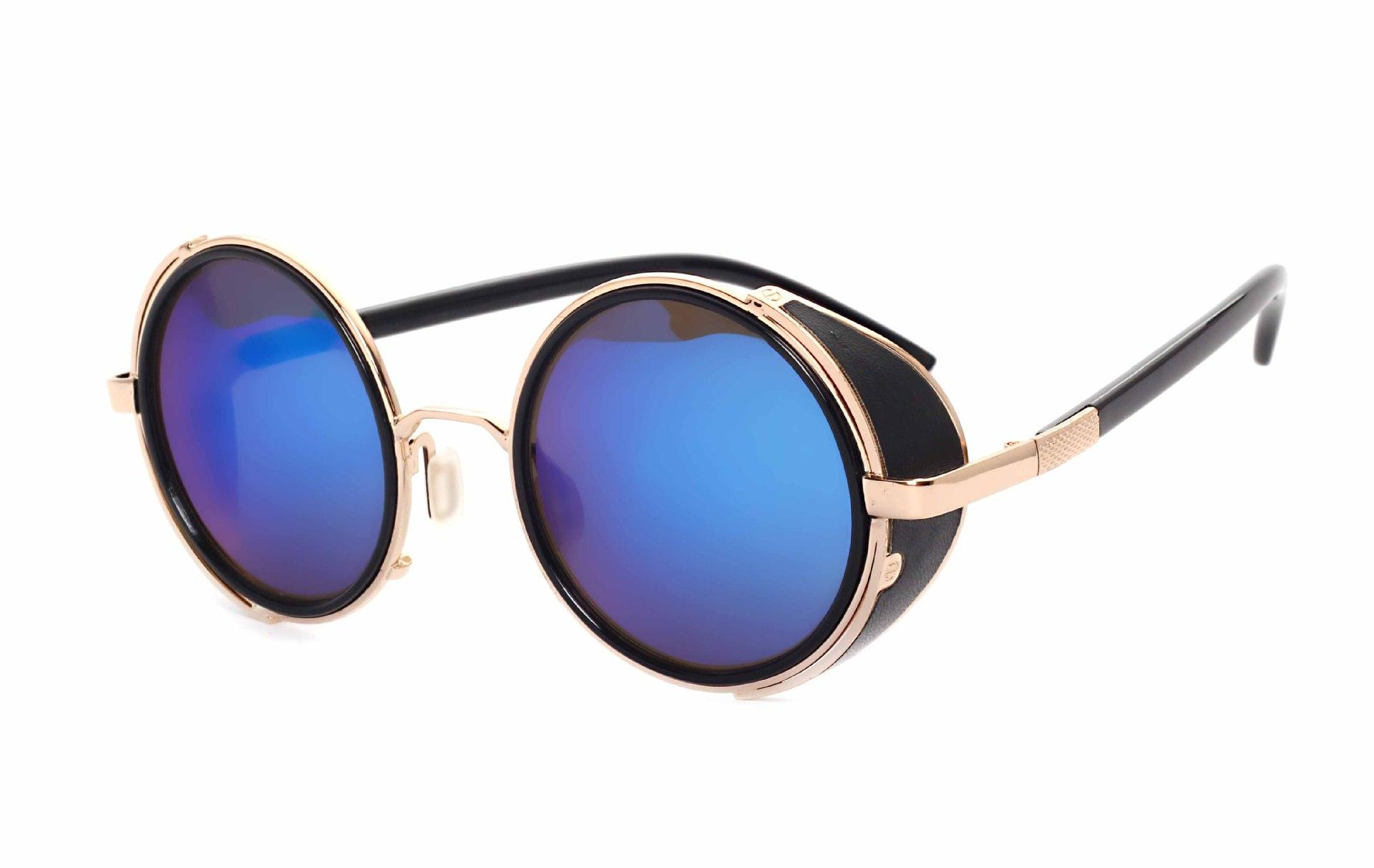 08db6eb5764 Vintage Sunglasses Men Women Brand Gold Metal Flat Top Round Steampunk  Sunglasses Retro Windproof Mirror Glasses
