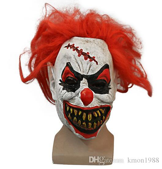 funny scary clown mask red hair buck dentes full face terror masquerade adulto ghost party mask