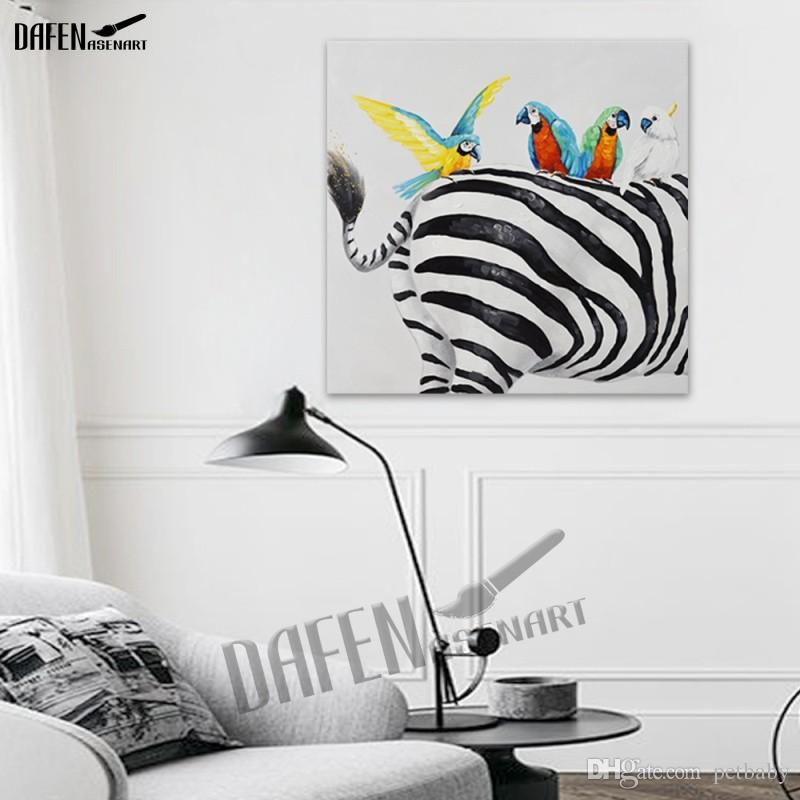 Happy Parrot 100% Handpainted Animal Oil Paintings Funny Cartoon Picture Paint on Canvas Modern Wall Art Home Decoration
