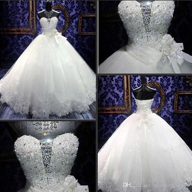 Роскошные Bling Bling Bling Clange платья Пухлые изысканные кристаллы блестки бусины возлюбленные кружевные задние свадебные свадебные платья кружевные аппликации
