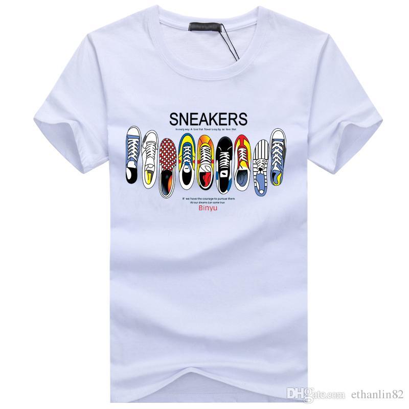 New T Shirt Uomo Summer Fashion Sneakers Stampato T-shirt da uomo in cotone manica corta O Collo Casual divertente Scarpe stampa Camicie Uomo