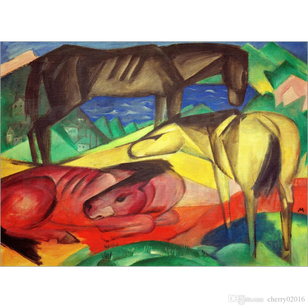 Abstract modern art Three Horses by Franz Marc Oil Painting reproduction High quality Hand painted