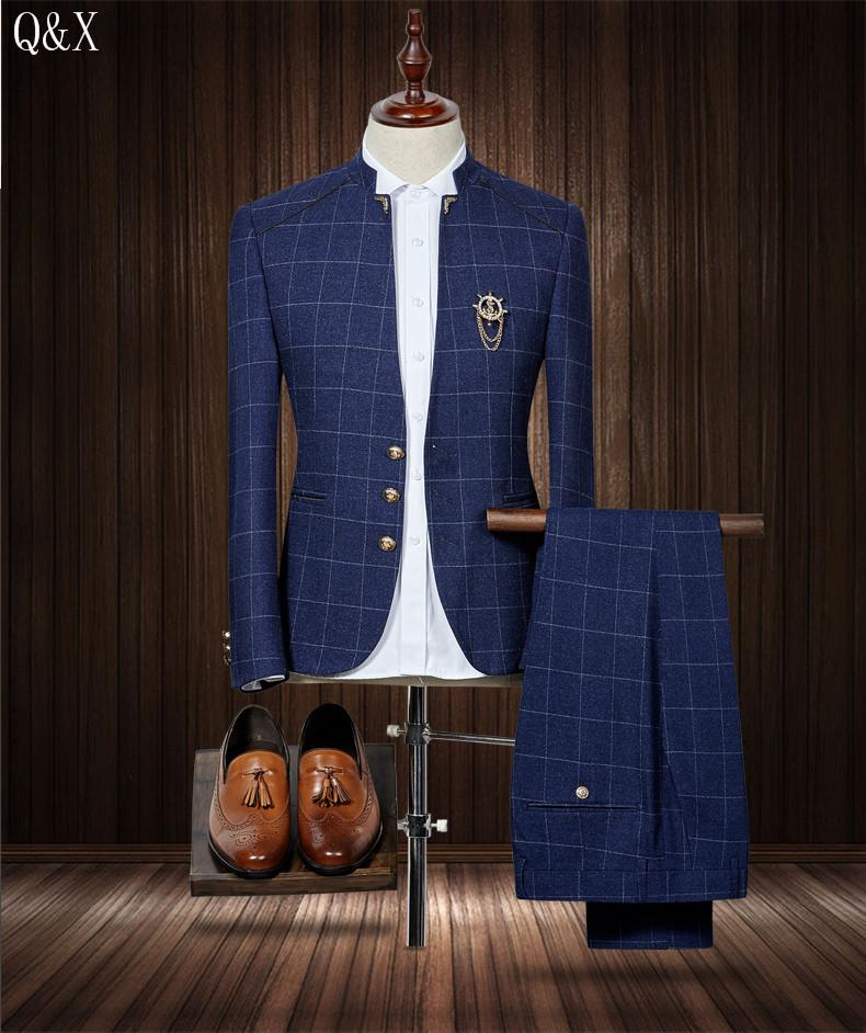 Wholesale- MS50 2017 Standard Collar Classic Custom Made Men suit Blazers gentleman style tailor made slim fit wedding suits for men