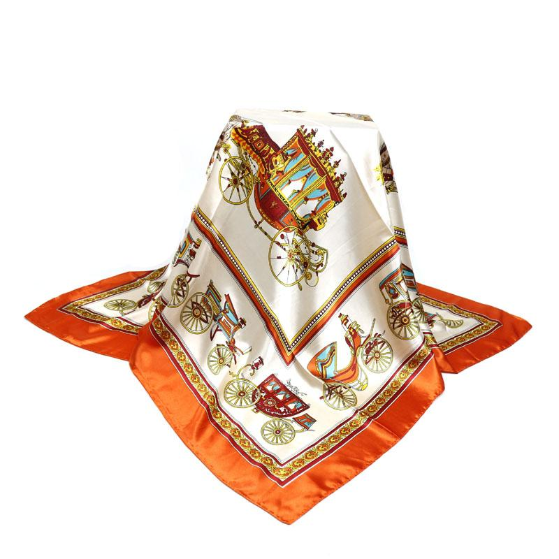 Wholesale-90*90cm Wholesale Big Size Women Satin Square Scarf Polyester Silk Scarves Flower Shawl Hijab Fashion Sunscreen Shawls