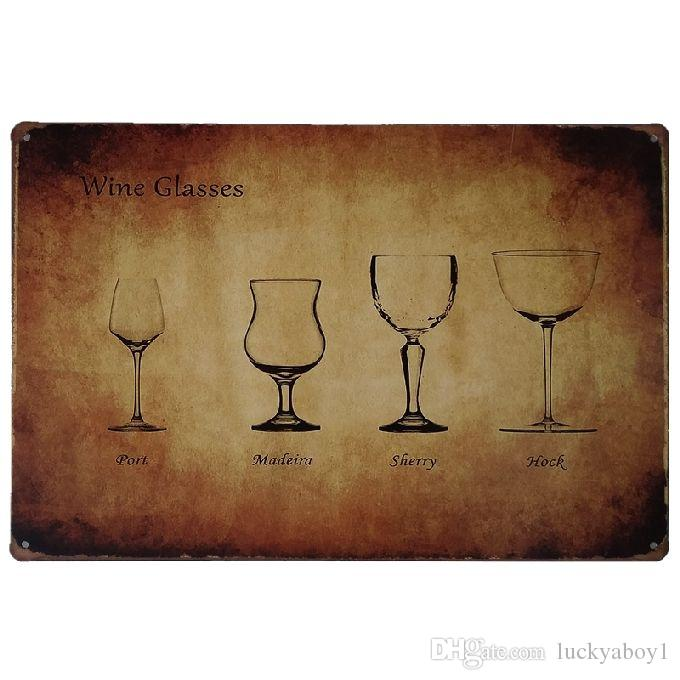 Wine Glasses Port Madein Sherry Hock Retro rustic tin metal sign Wall Decor Vintage Tin Poster Cafe Shop Bar home decor