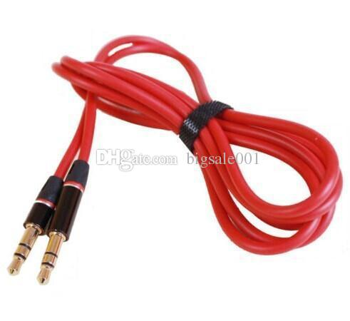 Red 3.5mm to 3.5mm Round type Car Aux audio and Extended Audio Cable for iPhone5 5S 4 4S wholesale
