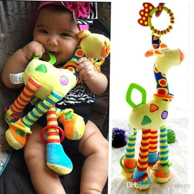 New arrival baby toys Plush Infant Baby Development Soft Giraffe Animal Handbells Rattles Handle Toys Hot Selling WIth Teether Baby Toy