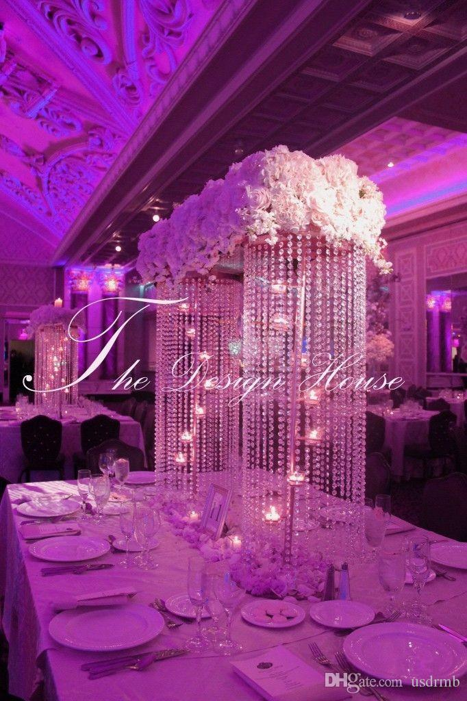 100cmh Crystal Wedding Centerpiece With Candle Holders Inside Table Chandelier Flower Stand Props Candelabras