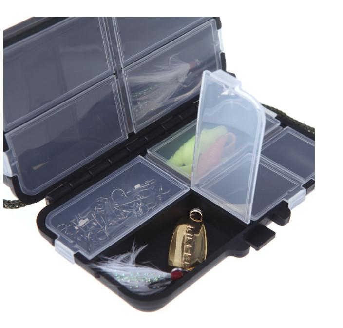 Fishing Tackle Box Kit Storage Fly Fishing Box Spinner Bait Minnow Popper 9 Compartments Fishing Accessories out229 DHL