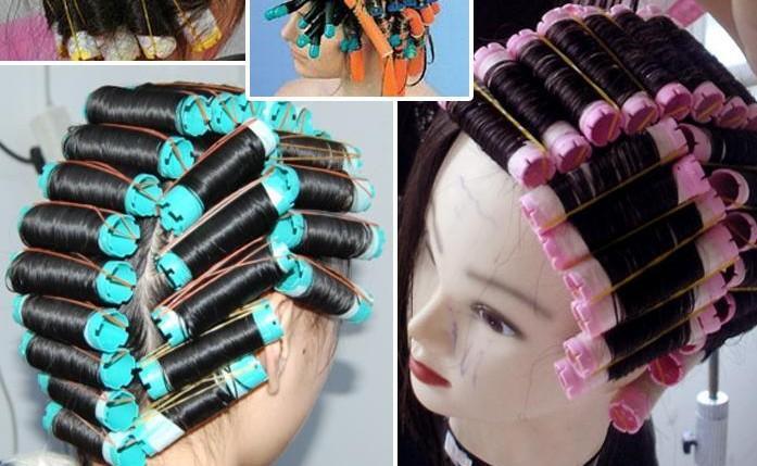 2bags (16 -20pcs )/Lot Cold Perm Rod Curlers Rollers Plastics Hollow Core Flexi Rod Hairdressing Tools Bigoudis Magique Curler