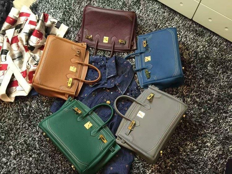 2016 Luxury H Handbag Women\`s Litchi Cowhide Messenger Bag Genuine Leather Famous Designer Shoulder Crossbody Totes Ladies Bolsa (14)