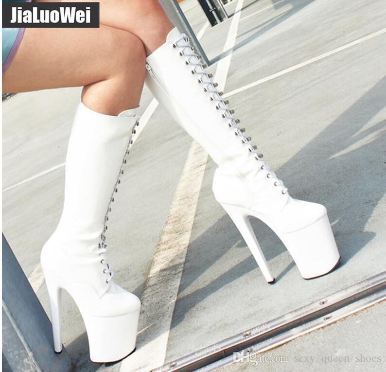 YENI 2019 Kadınlar Kış Ayakkabı Beyaz Dantel-up Diz-Yüksek Çizmeler Platformu Stiletto Deri Yüksek topuklu Moda Dans Boot Botas 20 cm Ücretsiz Gemi