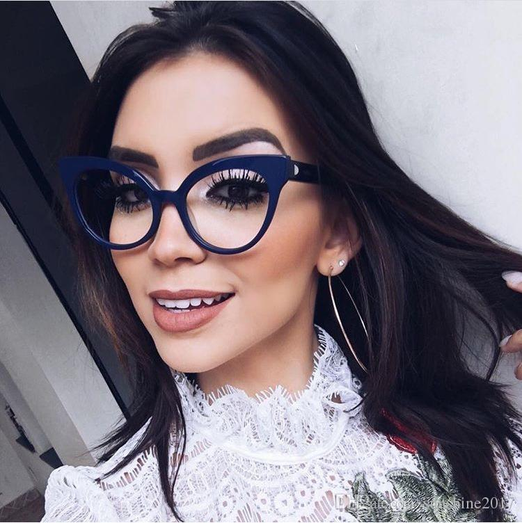 Moda Mujer Cat Eye Glasses Frames Cat's Eye Clear Lentes Damas Gafas Montura Retro Gafas de mujer Gafas de marca transparente
