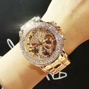 2017 nuovo lusso di alta qualità di cristallo di diamanti orologi donne oro orologio striscia d'acciaio oro rosa scintillante orologio da polso drop ship