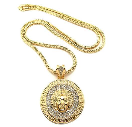 الرجال الهيب هوب قلادة طويلة الذهب والمجوهرات Slver سلاسل مثلج خارج قلادة الماس قلادة بيسى بيان القلائد النساء الرجال 2PCS