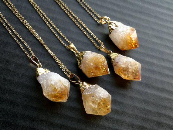 """16 """"roh Citrin Point Anhänger Halskette / / Citrin Edelstein Halskette in Gold oder Silber galvanisiert / / roh Citrin schöne YF0502"""