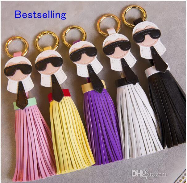 EPACKfree 12pcs 12 colors Brand Genuine Tassels Monster Bag Bugs Car cellphone Ornaments Leather Tassels Bag Charm Key Chain