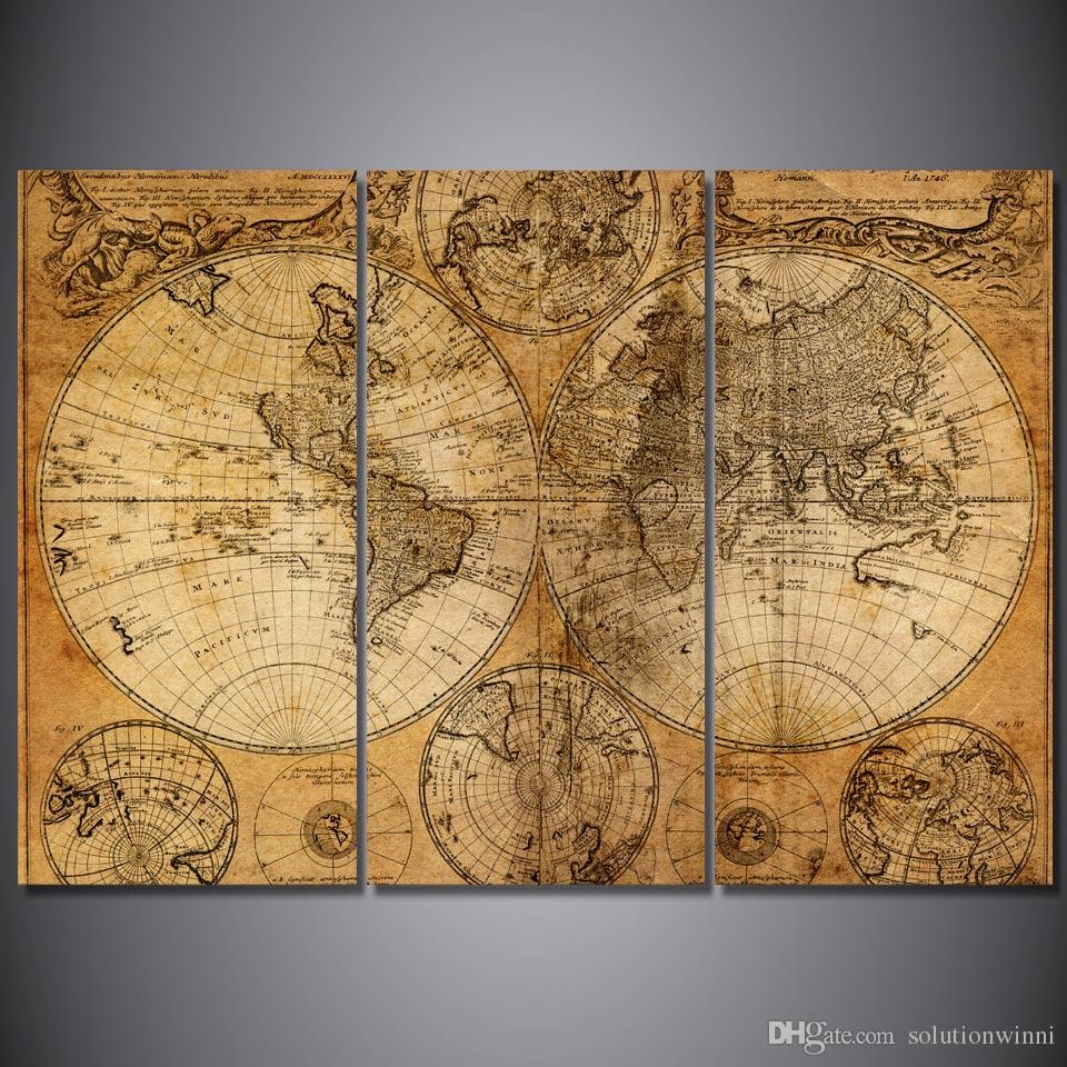 2020 Framed Hd Printed Retro Old World Map Picture Wall Art Print