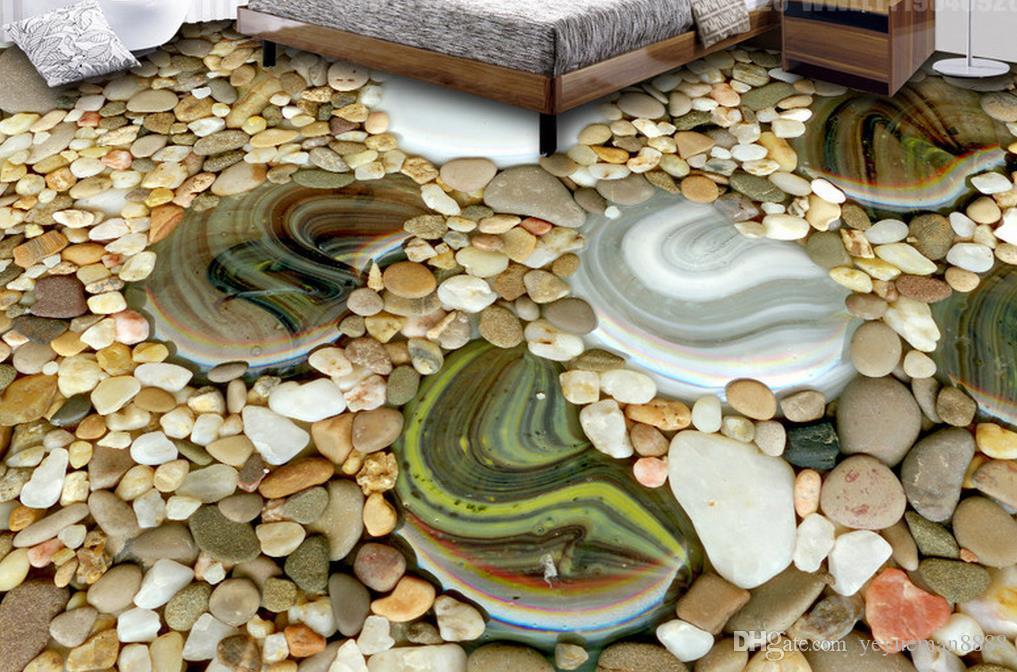 Suelo 3D Fondo de pantalla personalizado para paredes Adoquines Fondos de pantalla 3D para habitación de habitación Pintura de piso 3D