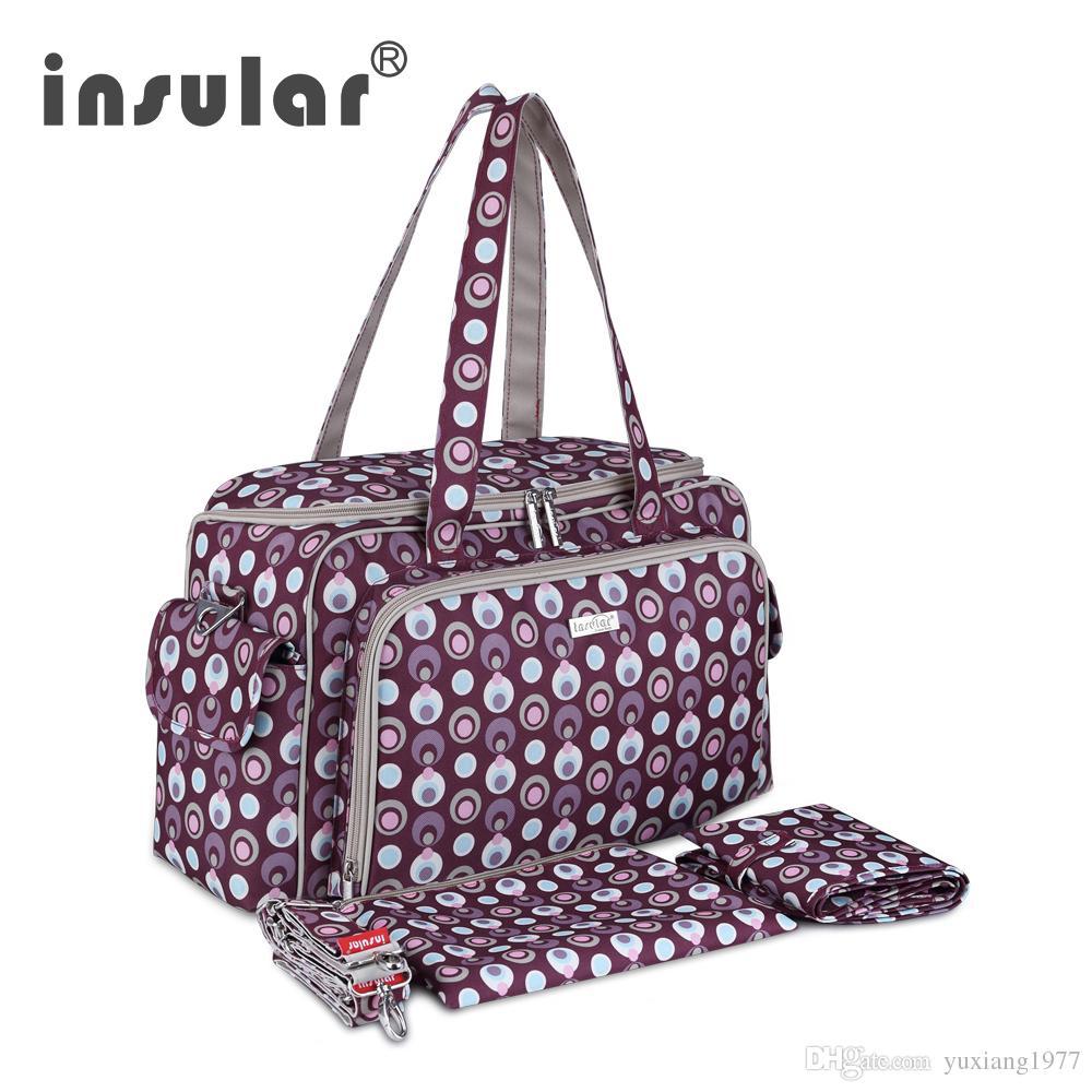 الجملة أزياء وصول جديد Insular للماء حفاضات الطفل حقيبة Pringting نايلون الأم حقيبة حمل