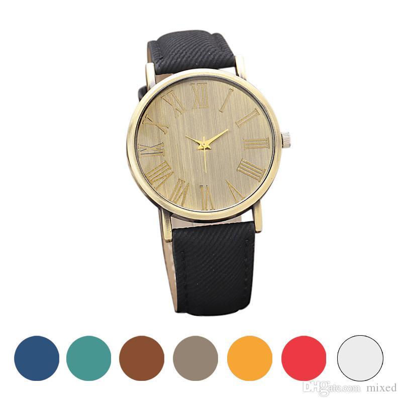 Дизайн Ретро Часы Джинсовые Кварцевые Часы Gofuly женские часы