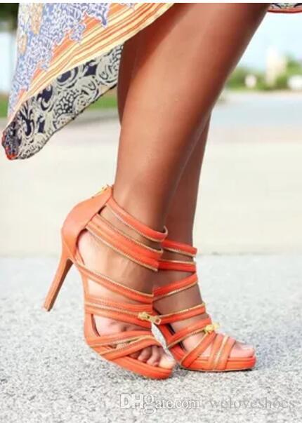 2017 Art und Weise Frauen dünne Ferse Sandalen offene Spitze Sandalen Knöchel wickelt hohe Absätze Gold Reißverschluss Gladiator-Sandalen Partei Schuhe schneiden hohe Absätze