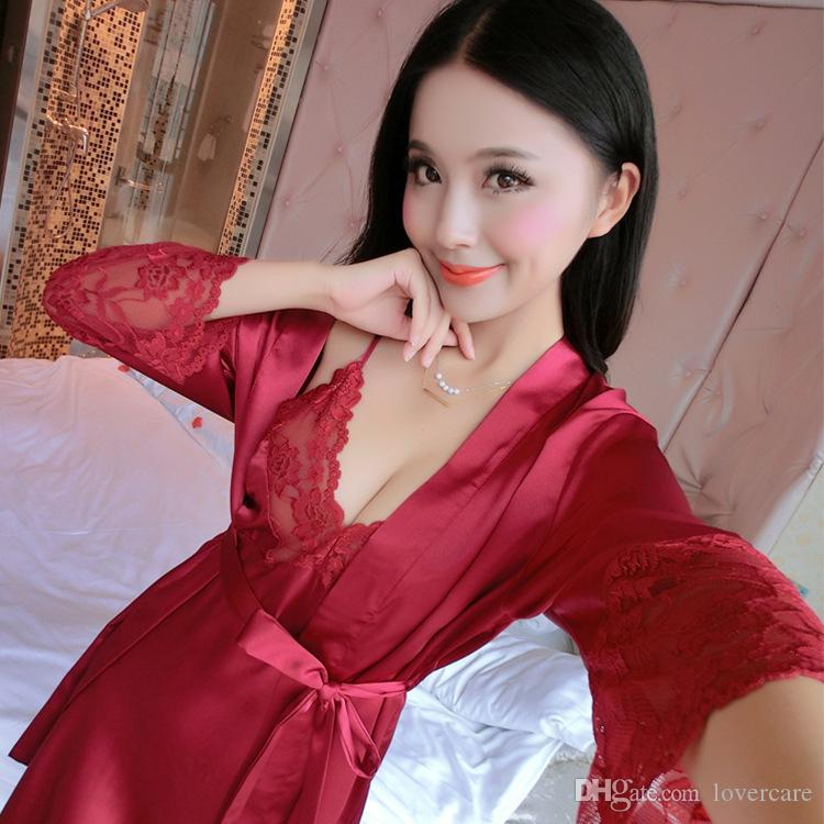 Sling Pajamas Two sets of autumn sexy lace ladies home pajamas new products 5 color 4 size free shipping