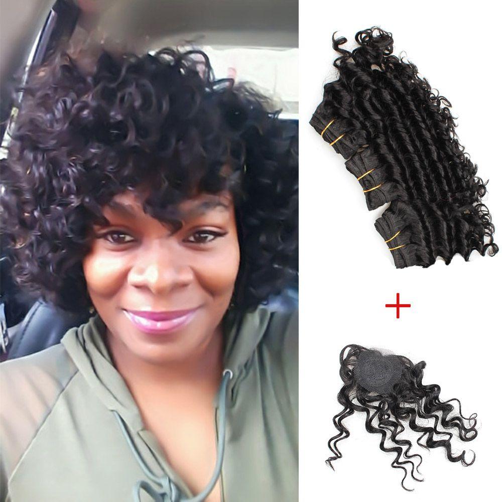 Kiss Hair 8 Inch Deep Wave Unprocessed Virgin Remy Human Hair Weave Short Bob Style 165g Brazilian Deep Curly Virgin Hair Natural Black Weave Hair