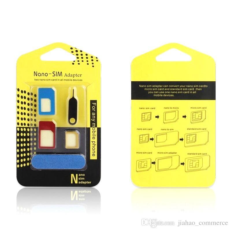 5 1 metal Nano SIM Kart / Çıkar Pin ile tüm cellpone için Mikro SIM Kart / Standard sim Dönüştürücü Adaptör Adaptör