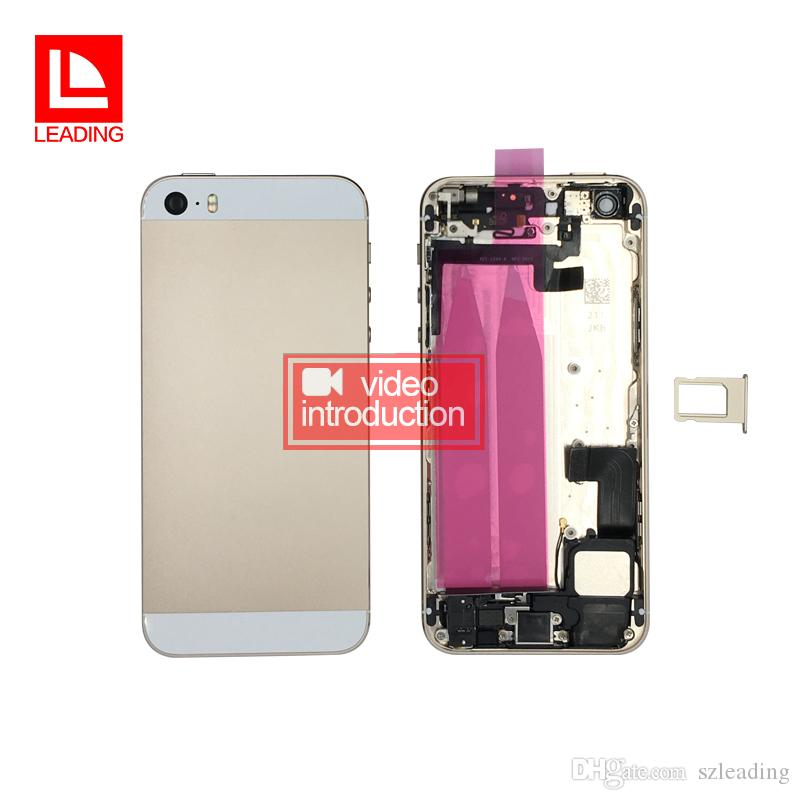 Back Battery Cover Housing With Flex Cable For iPhone 5s Full Housing Assembly Metal Alloy Housing Chassis Middle frame fast free shipping