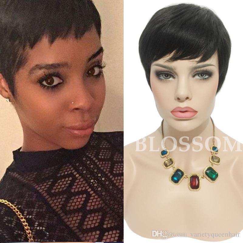 Parrucche capelli corti brasiliani taglio corto umano naturale Pixie parrucche capelli umani naturali per le donne nere parrucche glueless piena del merletto