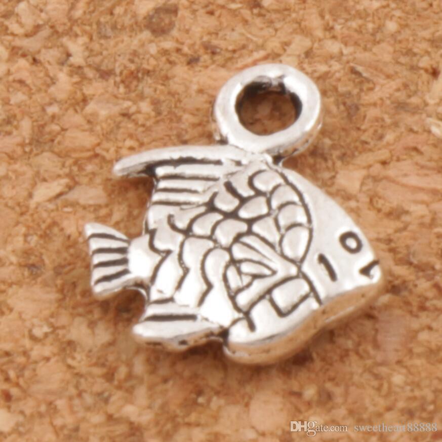 Liten fisk charm pärlor 500pcs / lot heta antika silver hängen smycken diy L062 10.7x9.5mm