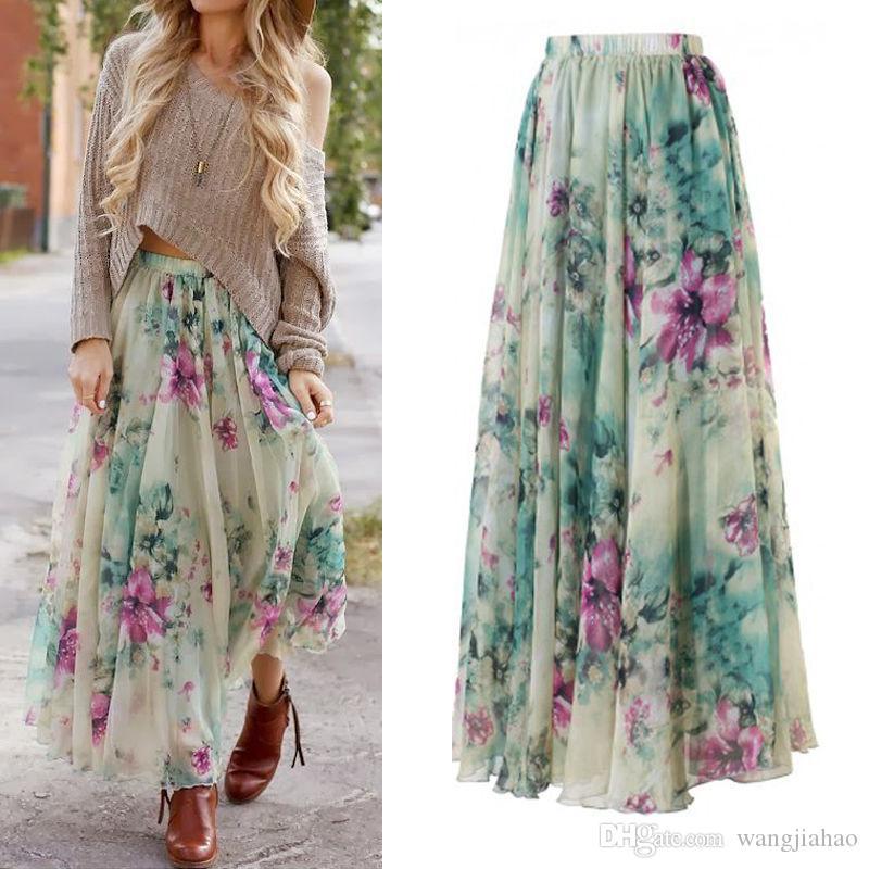 Kadın Giyim 2017 Günlük Elbiseler İNGILTERE Stok Womens Çiçek Elbise Uzun Maxi Tam Etek Yaz Plaj Güneş Elbiseler Plaj 01