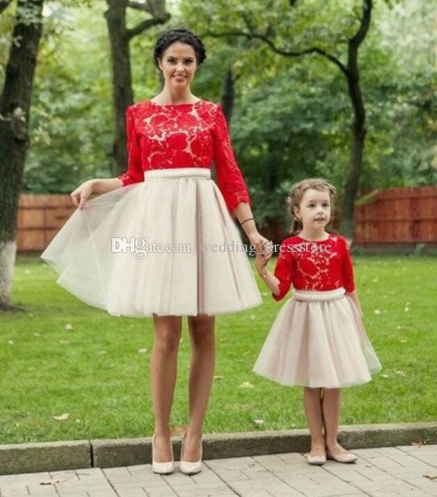 2017 Red Ball Gown Mother And Daughter Dresses Three Quarter Sleeves Short Prom Dresses Short Kids Evening Gowns