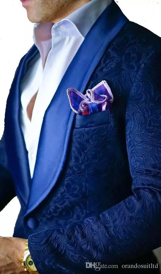 2017 New Royal Blue Paisley tuxedos Wool Herringbone wedding suits ...