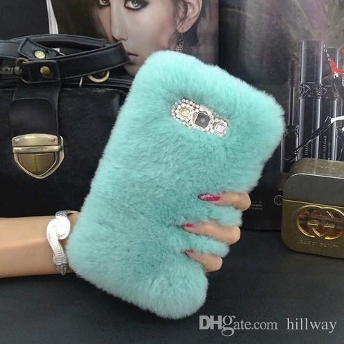 Top Rex Rabbit Fuzzy Hair Phone Case For LG G2 G3 G4 G5 G6 V10 V20 V30 Fluffy Hair capas para Cute Rhinestone Luxury Phone Fundas Cover Caja