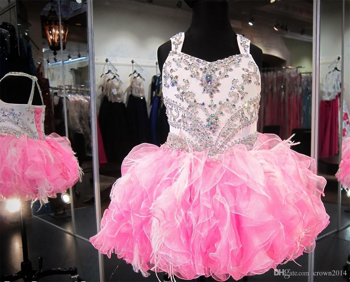 Crystal Beaded Glitz Cupcake Pageant Dresses Puffy Organza Ruffled Feather Pink Ivory Ball Gown Toddler Little Girls Birthday Party Dress