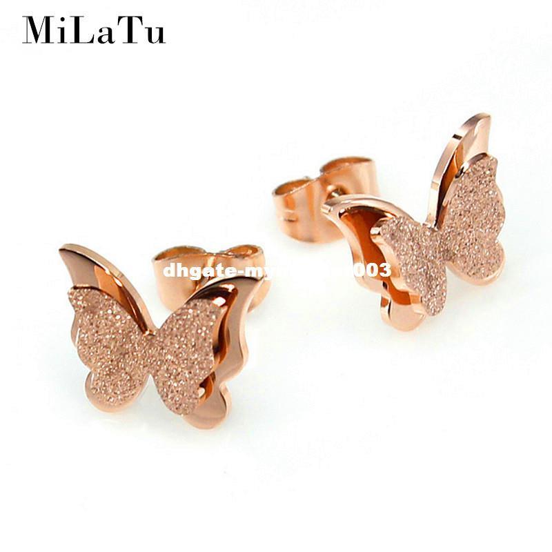 MiLaTu Edelstahl Ohrringe Für Frauen Mädchen Rose Gold Farbe Matt Doppel Schmetterling Ohrringe Ohrstecker Beste Schmuck Geschenk E034G