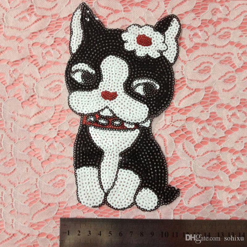 20pcs patchs à coudre de chat de fleur de Kawaii parchesches bordados Patch à paillettes pour vêtements paillettes brodées Jeans Veste Patchwork Art Appliques