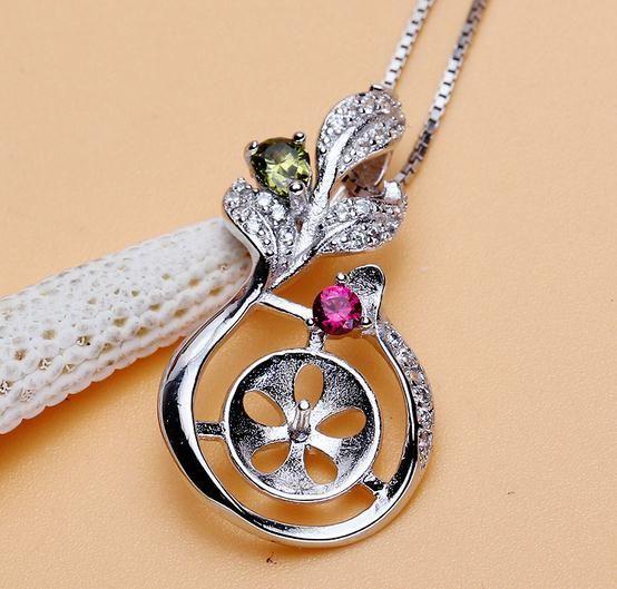 Heißer Verkaufs-eingelegter Zirkon natürliche Perlen-hängende Halsketten-Großhandelszusatz DZ0188