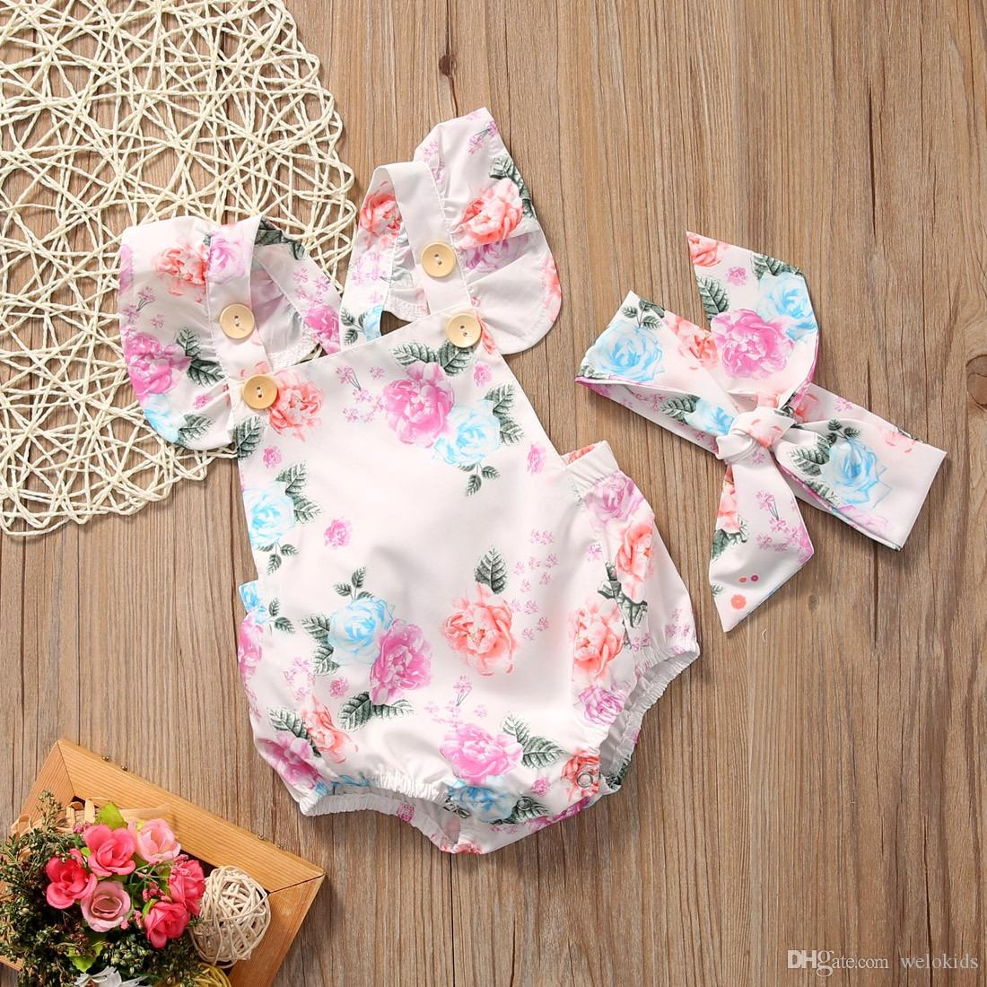bbc1124a2c4a 2019 New Pretty Girl Summer Jumpsuit Flower Romper Baby Child Girl ...