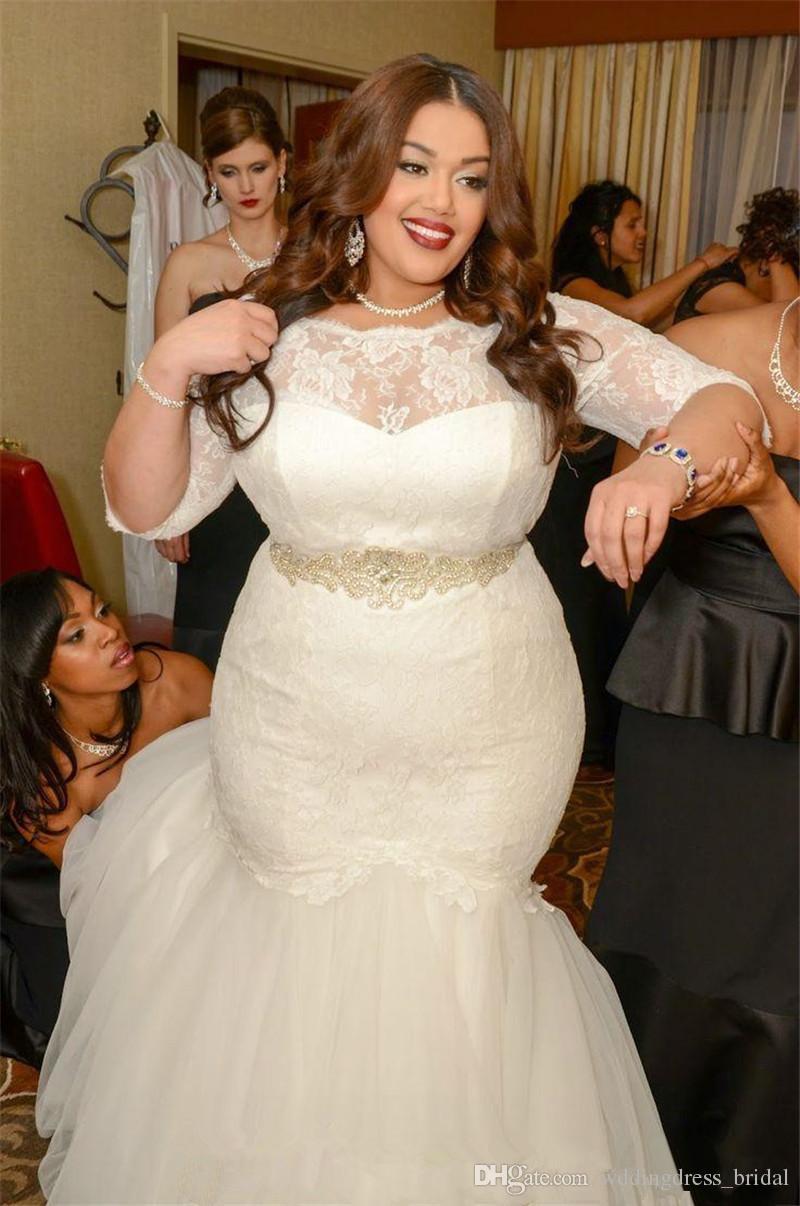 Großhandel Plus Size Brautkleider 11 Vintage Elfenbein Spitze Perlen  Mermaid Brautkleider Für Dicke Frauen Vestidos De Noivas Mit Halbarm Von