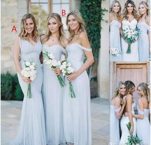 Beach Bridesmaid Dresses Ice Blue Chiffon Ruched Off The Shoulder Summer Wedding Party Gowns Lång billig enkel klänning för tjejer