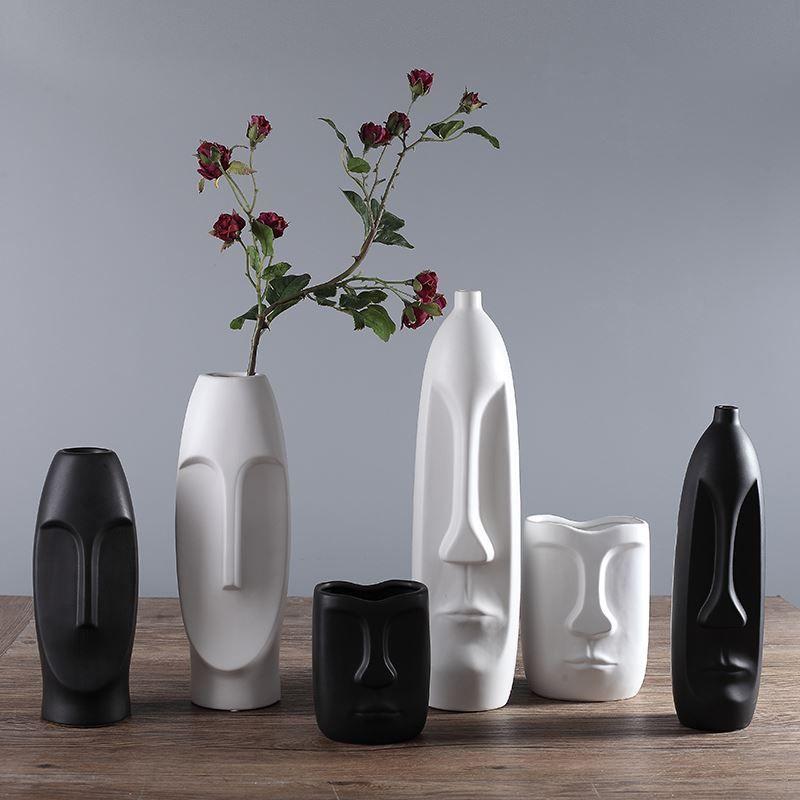 Vaso de forma criativa abstrata face humana para decoração de casamento Vaso de cerâmica branca e preta vaso 04