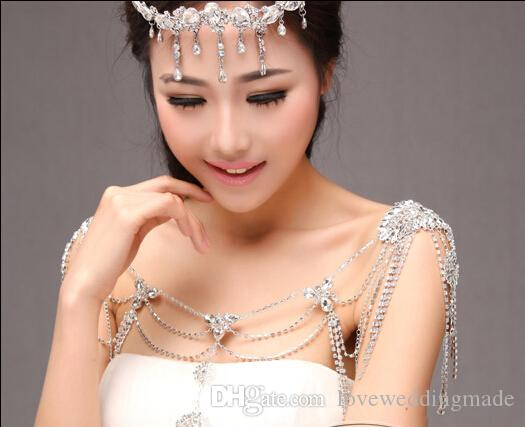 New Arrival 2019 Wedding Bridal Jewelry , Shiny Crystal Lace Pearls Alloy Water Drop Fairy Wedding Dress Shoulder Necklace Scop Neck
